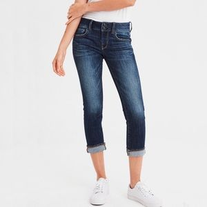 American Eagle Dark Wash Cropped Artist Jeans